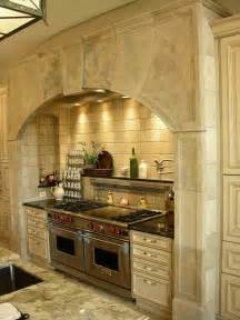 Kitchen with Stone Range Hood