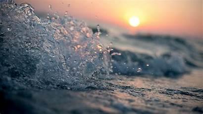 Waves Sunset Water Macro Backgrounds Desktop Wallpapers