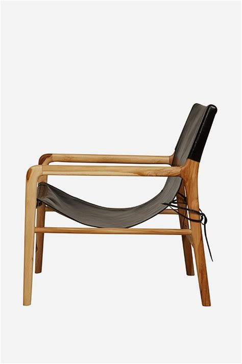 leather sling chair teak black