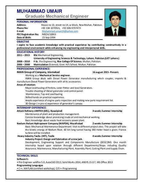 Mechanical Maintenance Engineer Cv by Cv Mechanical Engineer