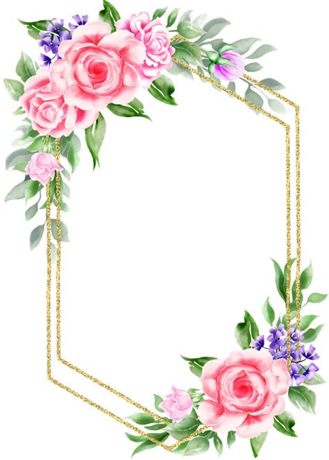 Premium Vector Watercolor floral vintage frame with gold