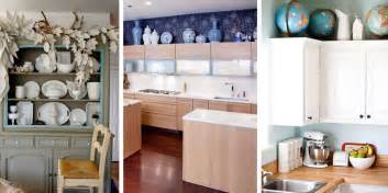design ideas for the space above kitchen cabinets