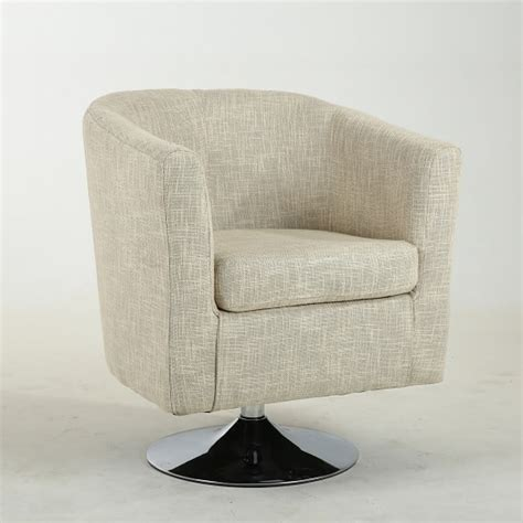 howard tub chair in linen style with swivel base