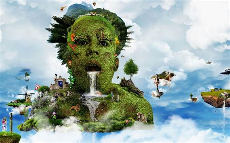 Hd 3d Man Face Forest Nature Wallpapers