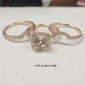 3 Wedding Ring Sets!Cushion Cut Morganite Diamonds ...