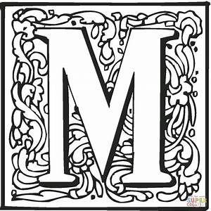 Letter M with Ornament coloring page | Free Printable ...