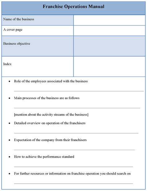 manual template  franchise operations