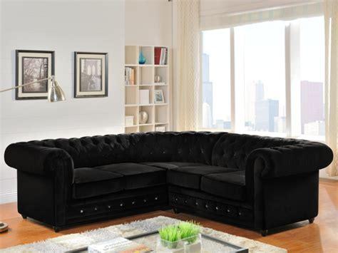 canapé velours noir canapé d 39 angle en velours chesterfield noir