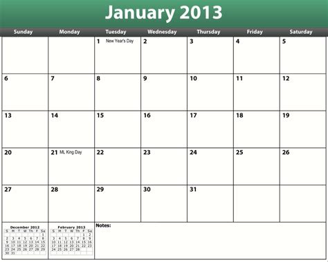 Even add notes and about print a calendar. Printable PDF 2013 Monthly Calendar