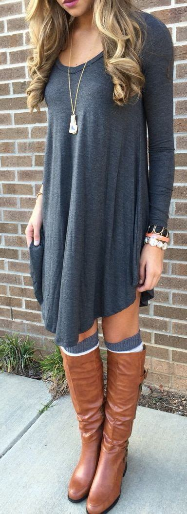 grey cotton dress paired with shiny black 25 best ideas about dress with boots on boots