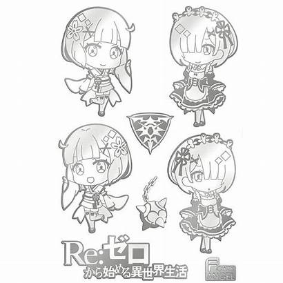 Stickers Zero Re 7pcs Isekai Kara Seikatsu
