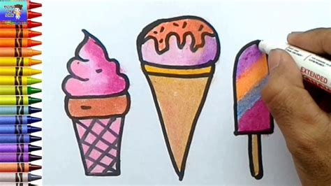 menggambar dan mewarnai macam macam es krim warna warni
