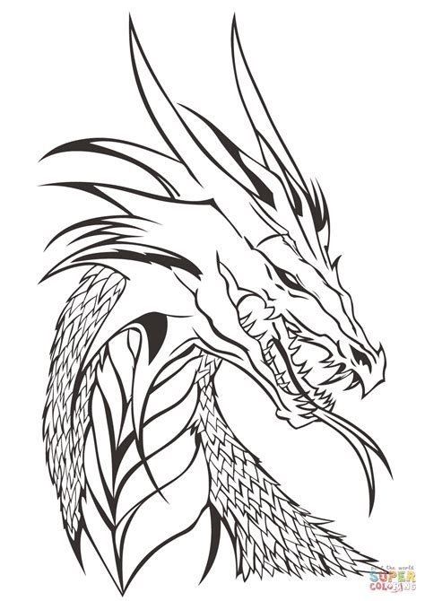 Realistic Dragon Head Coloring Pages Fattkay