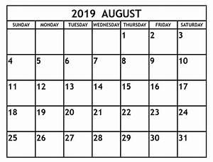 Calender August Blank August 2019 Calendar Printable Template Editable