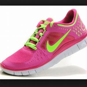 Shoes: pink, green, neon, nike free run, nike, fitness ...