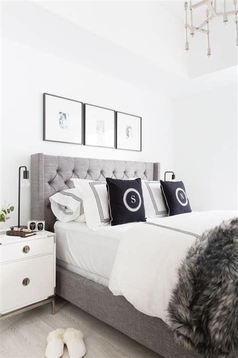 grey tufted headboard light  bright bedroom home