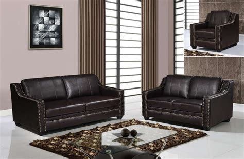 Classic Style Brown Sofa Set With Studded Accents Houston