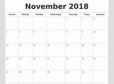 November 2018 Calendars Free