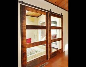 double 3 glass panel sliding reclaimed wood doors With 3 panel glass barn door