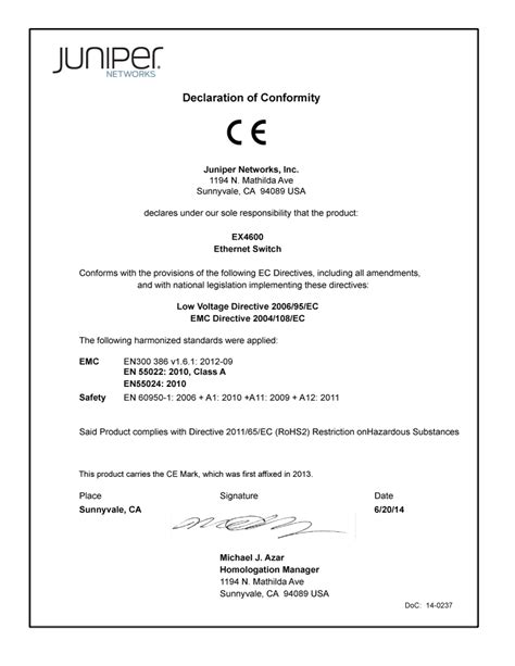 requirements document template declaration of conformity for ex4600 switch technical