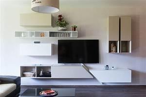 Meuble Moderne Salon : composition murale pour meuble tv design moderne salon paris par la cuisine dans le bain ~ Teatrodelosmanantiales.com Idées de Décoration