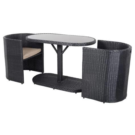 black bistro garden table chairs rattan wicker