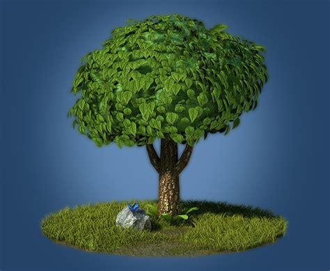 Cartoon Tree 3d Model Game Ready .max