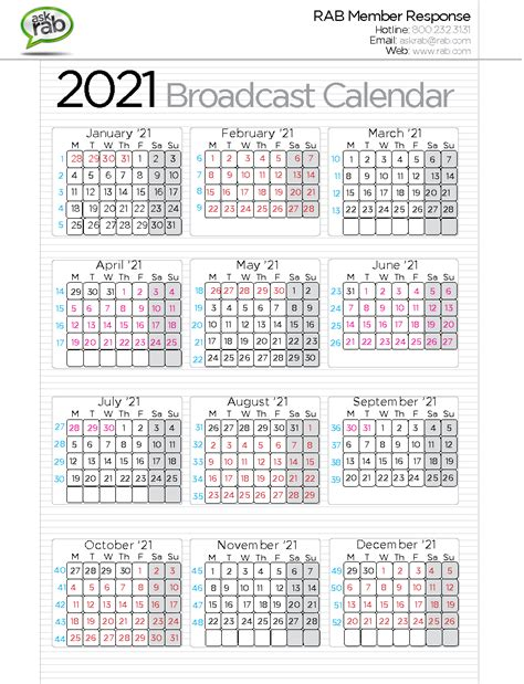 broadcast calendars rabcom