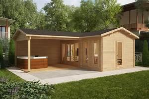 corner garden room with large veranda hansa b 18m2 44mm With whirlpool garten mit mini sauna für balkon