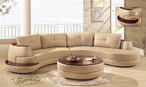 beige leather modern sectional sofa w cherry wooden shelf With modern italian design sectional sofa beige