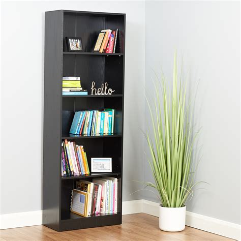 Black Wooden Bookcases by Hartleys 5 Tier Black Wooden Freestanding Bookcase