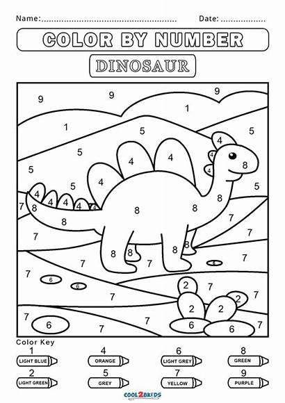Number Worksheets Dinosaur Coloring Numbers Preschool Kindergarten