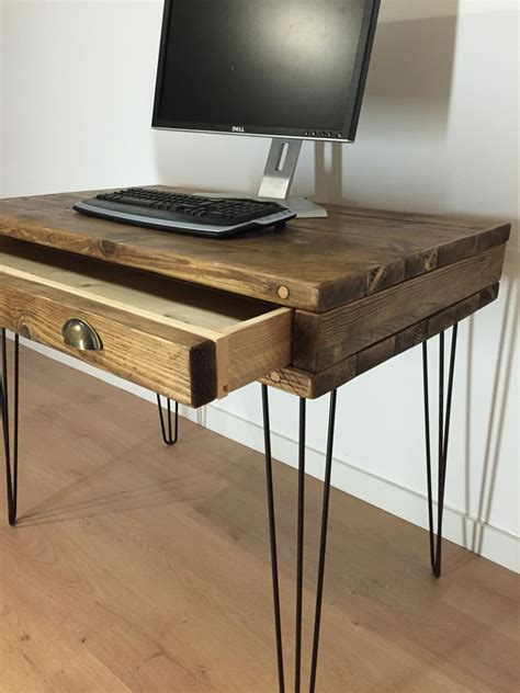 reclaimed solid pine box desk with drawer and metal hairpin legs newco interiors bespoke