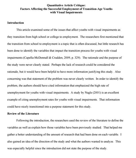 A succint summary is provided in the first paragraph. Article Critique: How to Critique an Article in APA | EssayMap