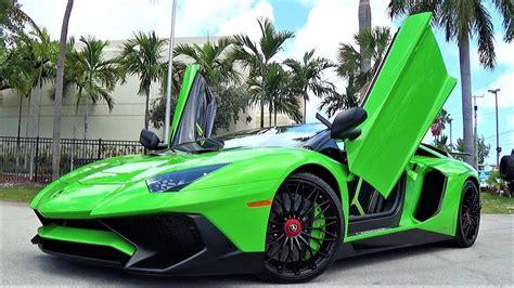 lamborghini aventador sv roadster green lamborghini aventador sv green loud aggressive bull at lamborghini miami youtube