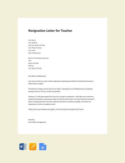 teacher resignation letter templates  ms word