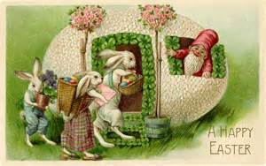 vintage easter bunnies and gnome image the graphics