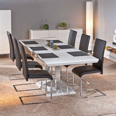 Table Chairs Edmonton by Monton Extendable White Gloss Dining Table With 6 Trishell