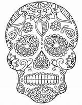 Skull Coloring Sugar Adults Intricate Printable sketch template