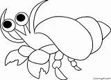 Crab Hermit Coloring Outline sketch template