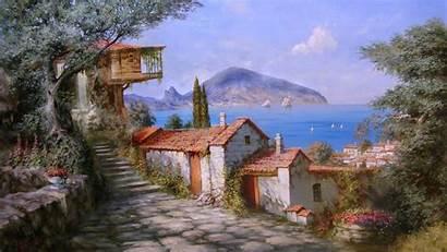 Seaside Painting Town Paintings Oil Sea Village