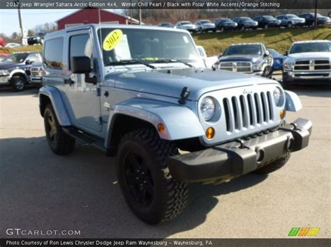 white jeep with teal accents 2012 jeep wrangler sahara arctic edition 4x4 in winter
