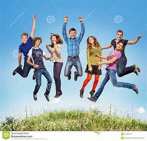 Happy teen jumpers stock photo. Image of excited, happy ...