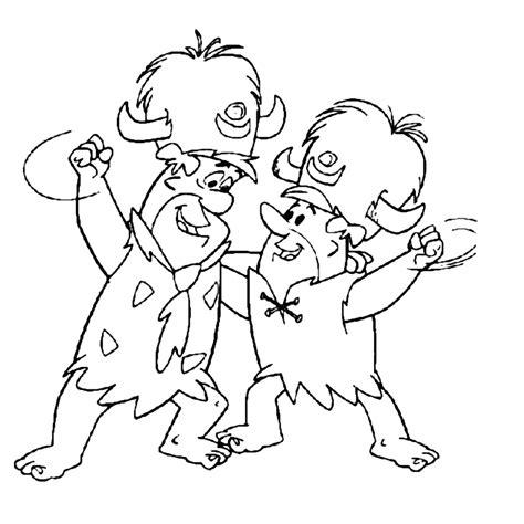 Kleurplaat Billy En Bambam by Leuk Voor Fred Flintstone En Barney Rubble