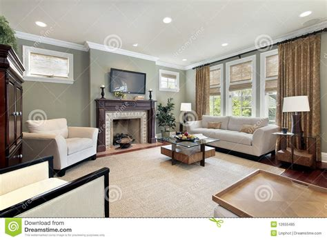family room  wood fireplace royalty  stock photo