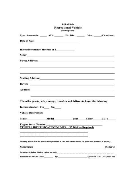 recreational vehicle bill  sale form   templates