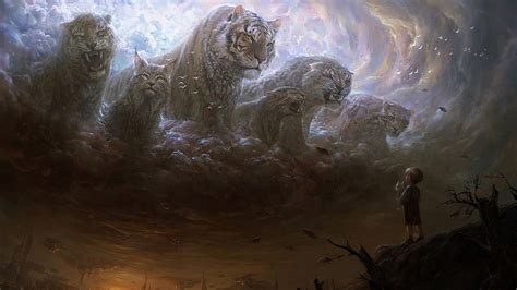 tiger fantasy art wallpapers hd desktop  mobile