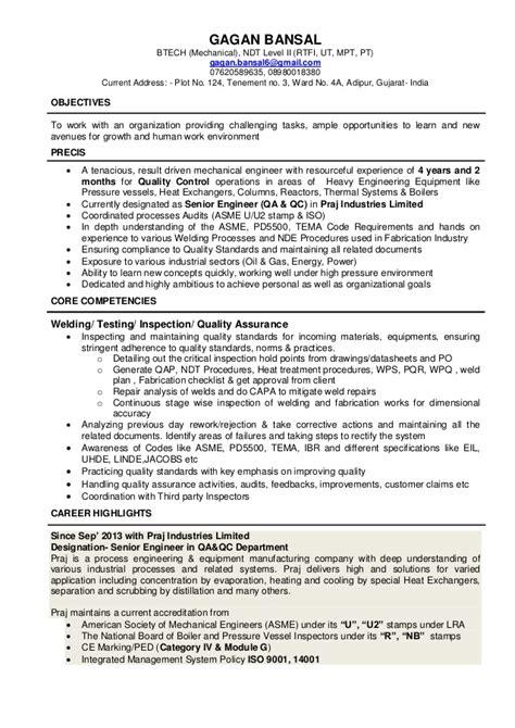 Ndt Level 3 Resumes by Resume Gagan Bansal
