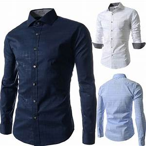 Dress shirt men slim fit style male for boys Casual shirt ...