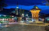 Baščaršija | Baščaršija square in Sarajevo with pseudo ...